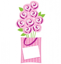 Bag with roses vector