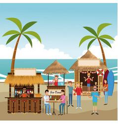Beach kiosks cartoons vector