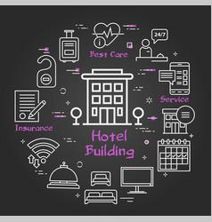 black hotel service square concept - hotel vector image