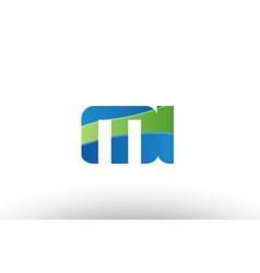 Blue green mi m i alphabet letter logo vector