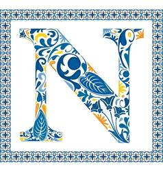 Blue letter N vector image