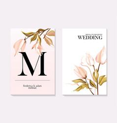 Botanical greeting card wedding tender soft rose vector