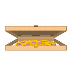 Box with pizza on white vector