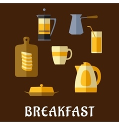 Breakfast food and drinks flat icons vector