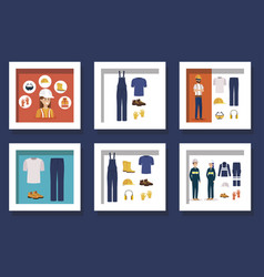 Bundle workers with uniforms and personal vector