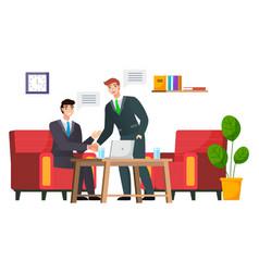 business propasal for partner man make agreement vector image