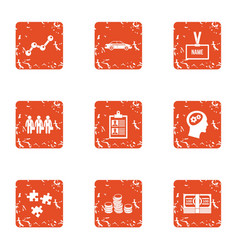 Business sector icons set grunge style vector
