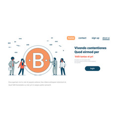 business team near bitcoin crypto currency vector image