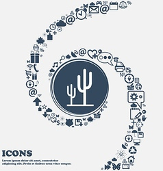 Cactus icon in the center Around the many vector