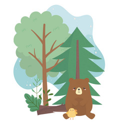 Camping bear and chicken trees cartoon vector