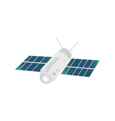 cartoon satellite with solar battery icon vector image