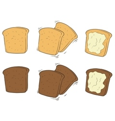 Cartoon set of tasty toasted bread with butter vector image