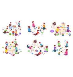 children playing in kindergarten isomeric set vector image