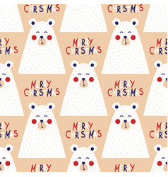 christmas seamless pattern with image of a bear vector image