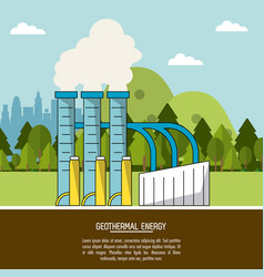 Color landscape background geothermal energy vector