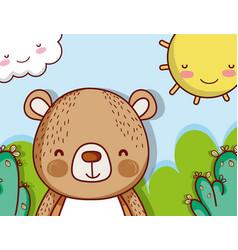 Cute bear on landscape vector