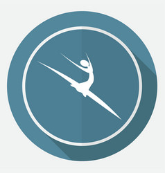 Dancer icon on white circle with a long shadow vector