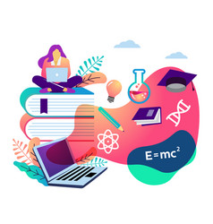 e learning concept student sitting on books vector image