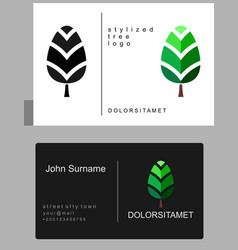 Emblem of green tree vector