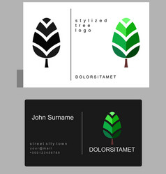 emblem of green tree vector image
