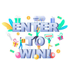 Enter to win typography banner template vector