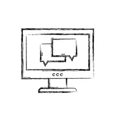 Figure chat bubble message inside computer vector