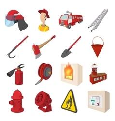 Firefighter cartoon icons set vector