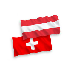 Flags austria and switzerland on a white vector