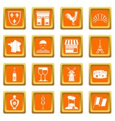 France travel icons set orange vector