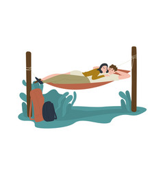 funny young man and woman lying together in vector image