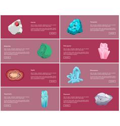 Garnet turquoise malachite quartz agate diamond vector