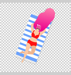 Girl on beach isolated on transparent background vector