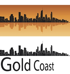 Gold Coast skyline in orange background vector