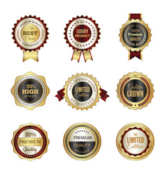 golden labels badges premium service crown luxury vector image