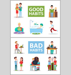 good and bad habits poster set vector image