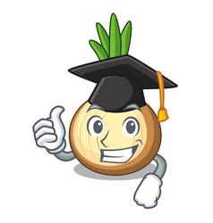 Graduation yellow onions in the cartoon basket vector
