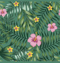 green tropical seamless pattern leaves vector image