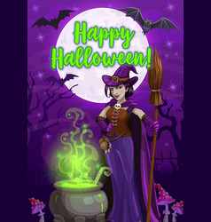 halloween witch with potion cauldron and broom vector image