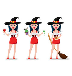Happy halloween set sexy witch vector