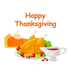 happy thanksgiving day turkey dish meat vector image