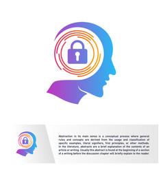 Head people with key logo template brain creative vector