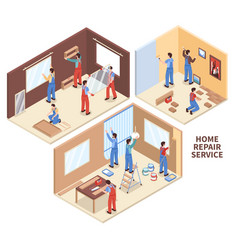 Home repair isometric compositions vector