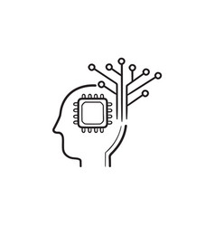 human head with chip and circuit hand drawn vector image