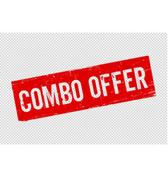 Isolated combo offer red rubber stamp vector