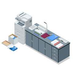 isometric office tools concept icons vector image