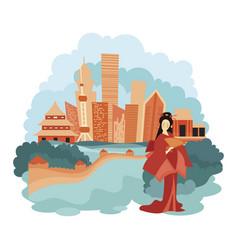 landscape beijing cartoon vector image
