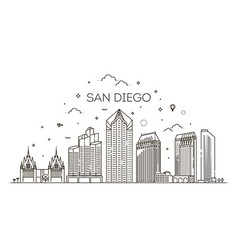 linear san diego city skyline background vector image