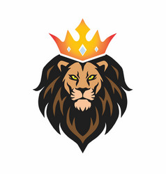 lion head mascot with crown logo template vector image