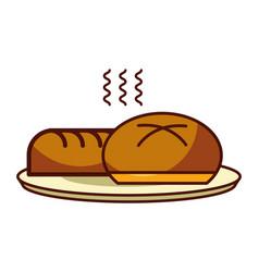 Loaf and bun bread fresh food bakery vector