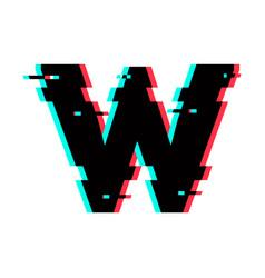 Logo letter w glitch distortion vector